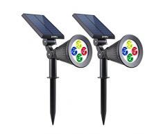 Lumisky Spiky W34Proyector, Foco Solar con 4LED para exterior, impermeable, luz 2-en-1, plástico, integrado, 1W, color blanco, 29x 9,5x 34cm, RGB, Intégré 1.5W 5V