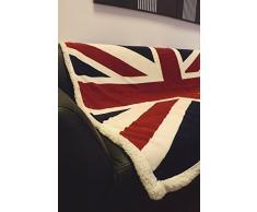 Rapport Manta de Forro Polar, para sofá, Cama, Colores Rojo/Blanco/Azul Union Jack Flag Impresa, Muy Suave