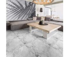Pegatina para suelo de azulejos de cemento de mármol blanco antideslizante con laminado de protección de plástico. Pegatinas adhesivas para azulejos resistentes al agua. 30 x 30 cm. 1 unidad.