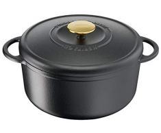 Tefal Heritage Cacerola 25 cm, Hierro Fundido, 5,1 litros, Tapa potenciadora de condensación, retención del Calor, Fuego Lento, guisos, caramelización, Apto para Todo Tipo de cocinas, Cast Iron