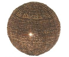 Naeve Leuchten 372514 Arabia - Lámpara de mesa (cáñamo, IP20, no se incluye 1 bombilla E14, 40 W, 230 V, 40 cm de diámetro), color marrón