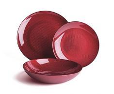Excelsa Diamond Servicio Vajilla 18 Piezas, Cristal, Rojo