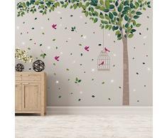 Wallflexi Pegatinas de Pared con Cristales de Swarovski y Verde árbol murales Adhesivos Decoración del hogar Sala de Estar Nursery Restaurante Cafe Oficina decoración