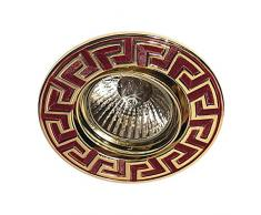Gumarcris 2572GO - Foco empotrable metálico con fondo granate y relieve, color oro