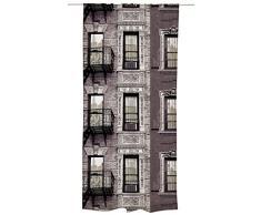 Vallila Mulberry St cortina, algodón, marrón, 140 x 250 cm