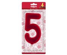 Dekora 345282 Vela De Cumpleaños Gigantes Número 5, Rojo, 15 Cm