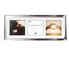 Inov8 21 x 20,32 cm Insta-Frame Marco para Instagram 3/de estampado a cuadros de fotos con paspartú blanco y blanco con borde, 2 unidades, acabado cromado