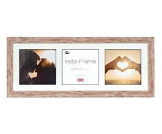 Inov8 21 x 20,32 cm tamaño pequeño Insta-Frame Marco para Instagram 3/Cuadrado Fotos con paspartú Blanco y Negro con Borde, Madera de Nogal se Debe Lavar a