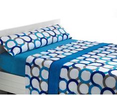 Sabanalia - Juego de sábanas de coralina Aros - Azul, Cama 180