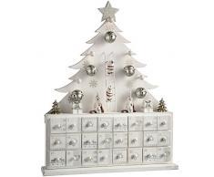 WeRChristmas – Calendario de adviento de madera, árbol de Navidad, decoración de Navidad, 40 cm, color blanco