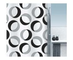 Spirella colección Rings, Cortina de Ducha Textil 180 x 200, 100% Polyester, Gris