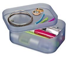 Wenko 20995100 Ice Cube - Caja organizadora con tapa y 6 compartimentos (tamaño pequeño, apilable), color gris