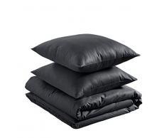 AmazonBasics - Juego de funda nórdica ligera de algodón - 240 x 220 cm / 80 x 80 cm, Negro