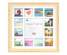 Inov8 16 x 40,64 cm Insta-Frame Austen envejecido marco para Instagram 13/de estampado a cuadros de fotos con paspartú blanco y negro con borde, 2 unidades, crema