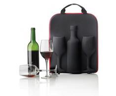 XD Design Estuche de Vino Swirl, Tela, Negro y Rojo, 39x8.5x29 cm