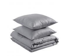 AmazonBasics - Juego de funda nórdica ligera de algodón - 240 x 220 cm / 65 x 65 cm, Gris ceniza