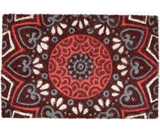 Excelsa Mandala Rojo Felpudo Entrada, Fibra de Coco, 40Â x 60Â cm