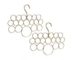 InterDesign Axis - Percha para bufandas, paquete de 2 unidades, sistema anti enredo, para bufandas, pañuelos, corbatas, cinturones, chales, pashminas, accesorios, 18 bucles cada una, color champán perlado