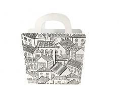 Rebecca Mobili Revistero, organizador de periódicos blanco negro, revistero de metal, diseño moderno, para el hogar y la oficina- Medidas: 38 x 30 x 10 cm ( AxANxF) - Art. RE6011