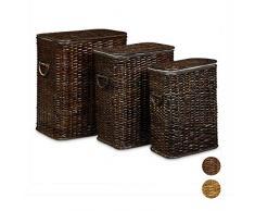 Relaxdays Cestos Ropa Sucia con Tapa Decorativos, Marrón Chocolate, 3 Unidades