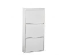DRW Zapatero metálico de 5 Puertas, Aluminio, Blanco, 170x50x15