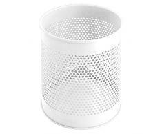 V-Part VB 270620 - Papelera cilíndrica de metal (15 L, diseño de agujeros), color blanco