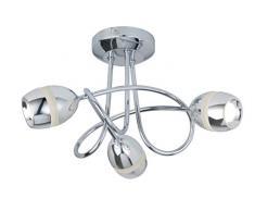 Lighting Collection - Lámpara de techo (3 luces, LED, cromo y ópalo)