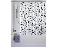 WENKO 19227100 Cortina de ducha Bouquet Nero - tejido textil de alta calidad, lavable, Poliéster, Blanco
