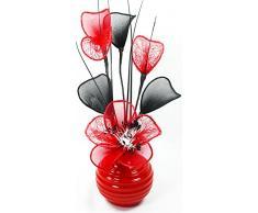 Diseño de flores de artificiales rojo jarrón, rojo, 32 cm