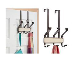 InterDesign - Lauren - Anaquel de 6 Ganchos para Colgar sobre Perfil de Puerta; para Sacos, Sombreros, Batas, Toallas - Crema/Bronce