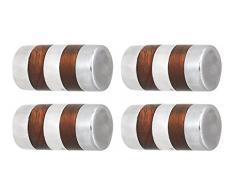 L'agape Set de Pomos para Muebles, Armario Cilíndrico, Madera, Multicolor, 3x3x4.30 cm, 4 Unidades