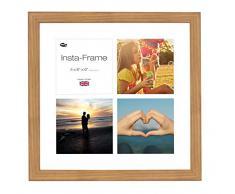 Inov8 16 x 40,64 cm Insta-Frame Marco para Instagram 4/de estampado a cuadros de fotos con paspartú blanco y blanco con borde, madera de roble 313