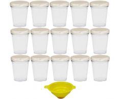 Viva-artículos de Uso doméstico - 15 pequeños tarros de Cristal/tarros de Mermelada 80 ml con tapón de Rosca - Plata Plateada para confituras, Cristal, Especias, Pastel de Cristal etc, Incluye Embudo