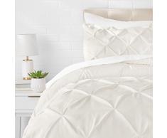 AmazonBasics - Juego de cama con colcha fruncida en pellizco, 135 x 200 cm , Crema