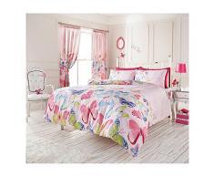 Just Contempo - Funda nórdica reversible (incluye fundas para almohadas, disponible en varios tamaños), diseño de mariposas, algodón poliéster, rosa, azul y verde, doble