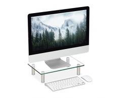 Relaxdays Soporte Monitor, Elevador Pantalla Ordenador, Portátil, Ajustable, Cristal, 1 Ud, 38,5 x 24 cm, Transparente, Pequeño