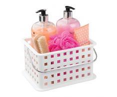 InterDesign Basic Cesta organizadora, canasto Organizador de baño de tamaño pequeño en plástico para artículos de Ducha y cosmética, Blanco