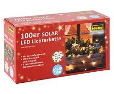 Idena 30440 - Guirnalda de luces led (100 luces, funciona con luz solar, incluye soporte, 2 funciones de luz, luz blanca cálida)