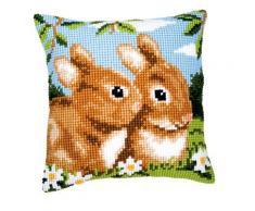 Vervaco, PN-0008487, almohada kit de punto de cruz, la razón: Los conejos, Multi (Colorido)