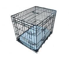 ellie-bo Deluxe extra fuerte 2 puerta plegable perro perrito de la jaula con cama de matrimonio oveja sintética tamaño mediano