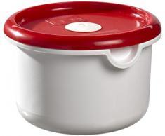 Curver 168433 Air Topps - Tartera redonda apta para microondas (polipropileno), color blanco y rojo, polipropileno, blanco y rojo, 1 L