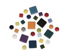 Rayher mosaicos de Mezcla, diámetro 12mm, Cubo 500g, Cristal, 13.3x 13.3x 6.3cm, Vidrio, carbón, 13.3 x 13.3 x 6.3 cm