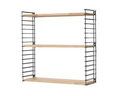 Metaltex - Estantería Libro Ajustable para Colgar en la Pared, Madera, Wood/Black, 12 x 21 x 68 cm