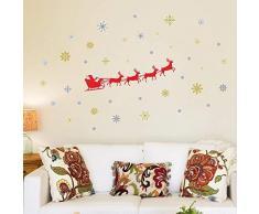 Wallflexi Pared Trineo de Papá Noel de Navidad Decoraciones Pegatinas de Pared murales Adhesivos salón niños guardería Escuela Restaurante Cafe Hotel casa Oficina decoración