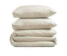 AmazonBasics - Juego de funda nórdica 100% algodón - 240 x 220 cm / 65 x 65 cm, Blanco lavandería