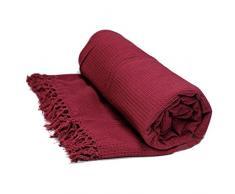 Just Contempo - Manta de algodón, 100% algodón, granate, King Size 259 x 259 cm
