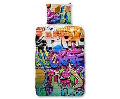 GOOD MORNING Juego De Funda Nórdica Graffiti Multicolor 140 x 200/220 cm + 60 x 70 cm