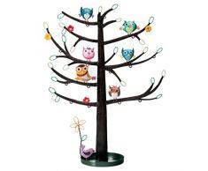 Soporte de la joyería organizador del árbol búho - para collares pendientes anillos pulseras verde marrón azul amarillo 34 x 14 cm, metal, Brown Green Blue Yellow, 34x14cm