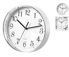 H & H 1548 H & H Reloj de pared, redondo, 35 Cromo, Metal, Blanco, 36 x 39 x 6 cm