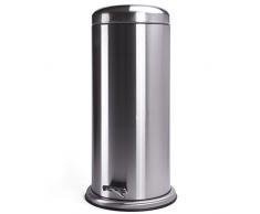 MSV Papelera 100% INOX 30L, Acero Inoxidable, Gris Metalizado, 2 cm